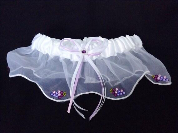 Custom Wedding Garter Purple Amethyst Vineyard Grape Belt Gift Toss Winery White or Ivory Champagne w/ Swarovski Crystal Bridal accessory