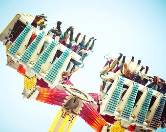 carnival ride photograph, amusement park ride, the claw photo, colorful, large wall print, blue, red, yellow, for a kids room, country fair
