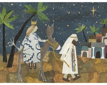 Christmas Card, folk art, Christian, Mary and Joseph, Bethlehem