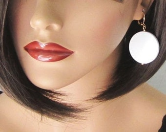 White Earrings Polka Dot Round Jewelry Big Lightweight Earrings Nautical Earrings White and Gold or Silver