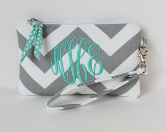 Design your own monogrammed wristlet, customized  chevron, personalized wristlet, iphone wristlet, clutch wrislet