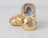 Baby Ballet Slippers - Gold - premie newborn toddler ballet slippers