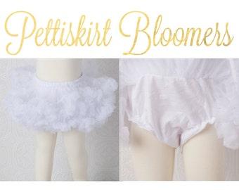 Pettiskirt Bloomer - White -True Newborn Pettiskirt & Bloomers ATTACHED white all in one bloomer attached to petti skirt