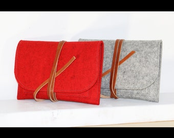 two Travel Pouches - set - passport case -  cellphone travel case - red pouch - couple set - 100% merino wool felt