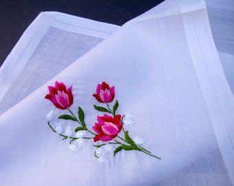 VINTAGE Swiss Floral Embroidery Hanky / unused with original sticker and tag / all cotton handkerchief / Desco Switzerland