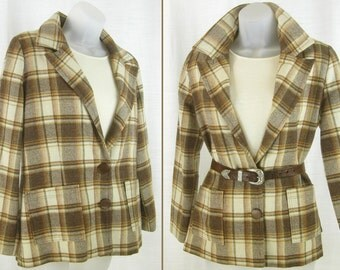 Vtg 50's – 60's Pendleton-style Traveler Jacket Brown-Cream Tartan Plaid Car-coat