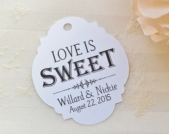 Love is Sweet - Wedding Favor Thank You Tags - Personalized - Bridal Shower - Baby Shower - Custom Quantities are Available WT-027