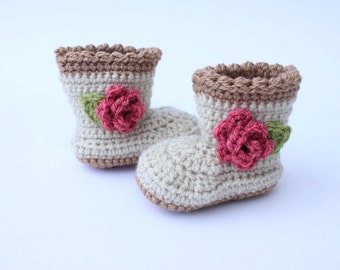crochet baby booties - flower baby shoes