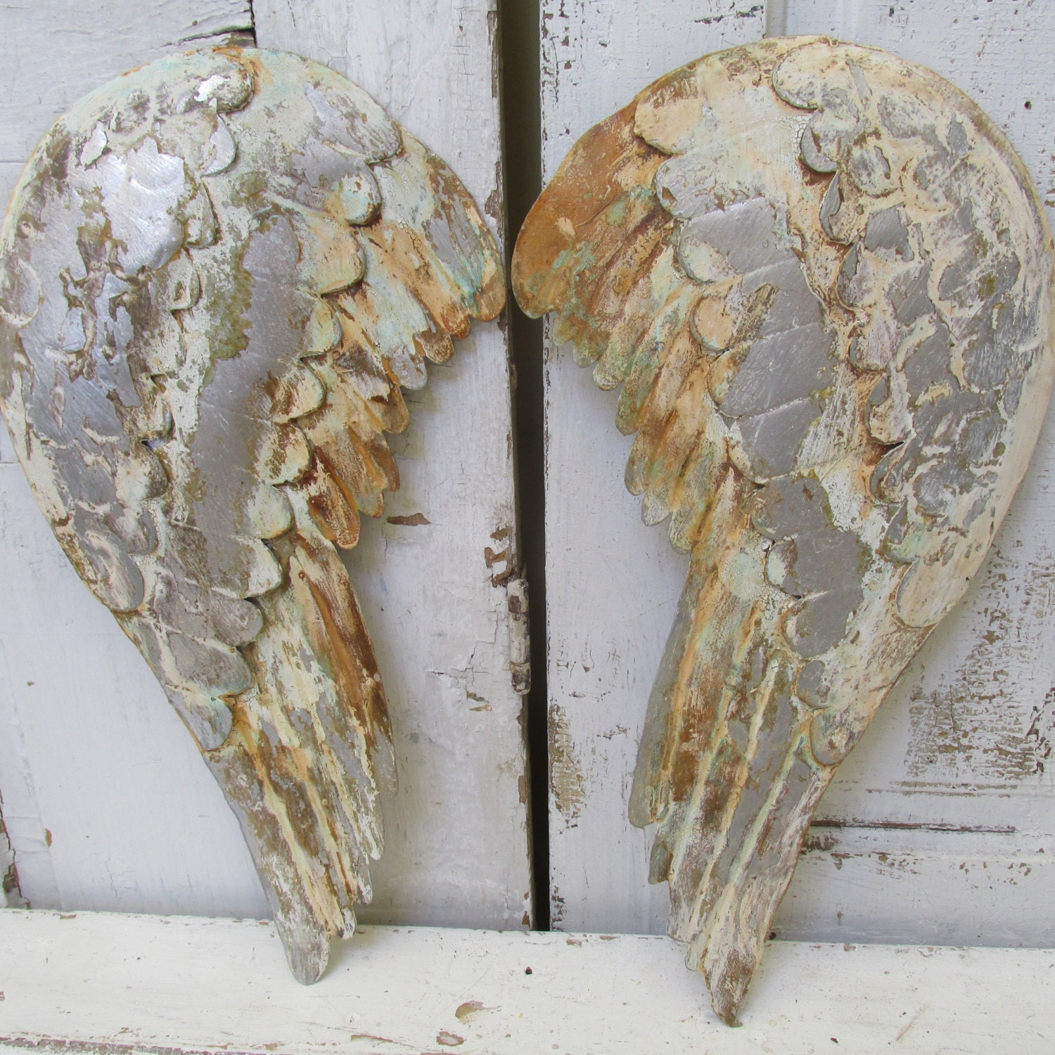 Rustic Angel Wings Wall Decor : Distressed metal angel wings wall hanging rustic farmhouse