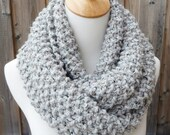 Marble Gray Wool Infinity Scarf - Gray Scarf with Black and Brown Flecks - Lambswool Scarf - Bulky Knit Scarf - Ready to Ship