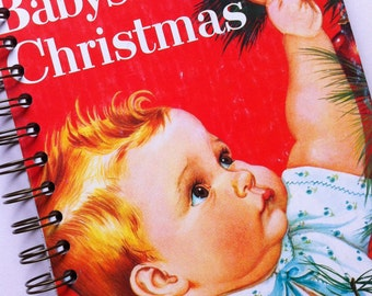 Baby's Christmas Little Golden Book Recycled Journal Notebook