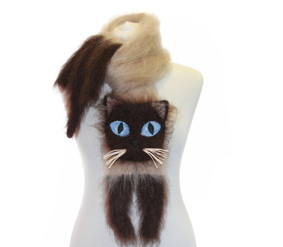 Knitted Scarf / Siamese cat / Fuzzy Soft Scarf / biege brown / cat scarf / knited cat scarf / animal scarf