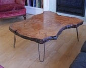 rare redwood slab coffee table mid-century eames hairpin legs