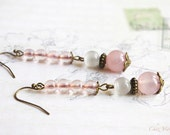 Long pink minimalist earrings, boho transparent Earrings quartz and cat's eyes stone beads