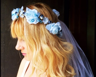 Something Blue Flower Wedding Headband Briedal Headpiece Tiara Crown With Veil