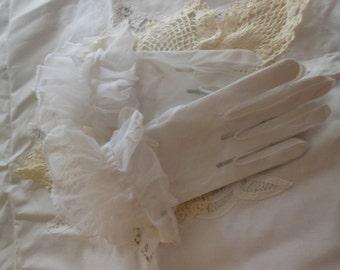 White Nylon Gloves, sheer, ruffled,mid century