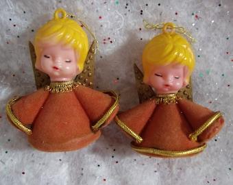 Vintage Angel Ornaments, Flocked Plastic Angel Ornament