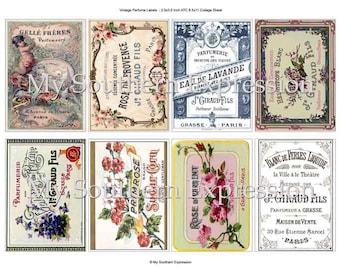 Vintage Perfume Labels ATC Background Scrapbook Altered Art Vintage Postcard Collage Sheet Digital Download