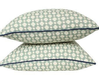 TWO Light Blue Betwixt Schumacher Pillow Covers with Navy Blue Welting