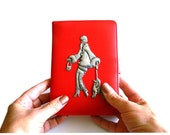 Leather Kindle Case Pewter Art Deco lady and poodle