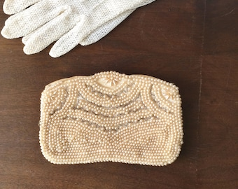 Vintage Beaded Evening Bag, Vintage Clutch, Petite Beaded Bag