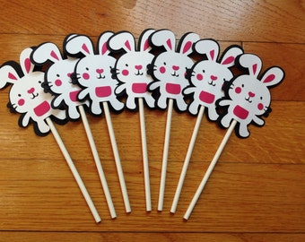 Set of 12 Easter Bunny Rabbit Birthday CUSTOM Cupcake Toppers