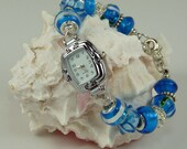 CARIBBEAN BLUE WATCH: European Style Large Hold Beaded Watch Bracelet