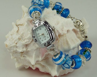 CARIBBEAN BLUE WATCH: European Style Large Hold Beaded Watch Bracelet