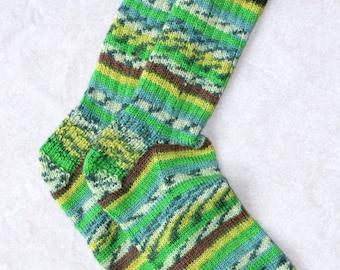 Hand knit wool blend men's socks