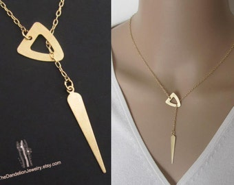 SALE 10% OFF: Triangle and Spike Lariat necklace Jewelry Pendant necklace Charm Gift