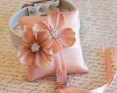 Blush Ring Pillow, Dog Ring Bearer, Blush Pillow attach to white Leather Collar, Blush wedding, Burlap Flowers, Burlap wedding