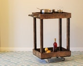 Wood Bar Cart with Casters and Industrial Pipe Towel Bars - Smaller Version