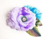 Purple Lilac Satin Petals Prom Hair Clip Accessory Romantic Rose Turquoise Ostrich feather Fascinator Antique Button original unique