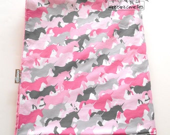 Minky Baby Toddler Girl Unicorn Blanket 38 x 50 inches Unicorn Herd Michael Miller-Made to Order