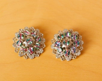 Vintage Aurora Borealis Ravioli Rhinestone Clip Earrings