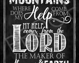 Scripture Art - Psalm 121:1-2 Chalkboard Style