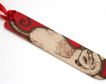 Opossum Red bookmark - Pyrography with red finish