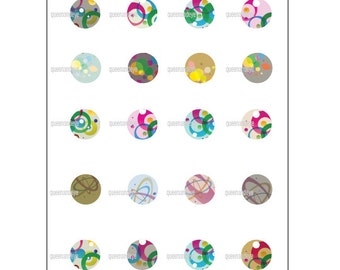 Digital download collage sheet / 1 inch abstract design circles / Round cuts