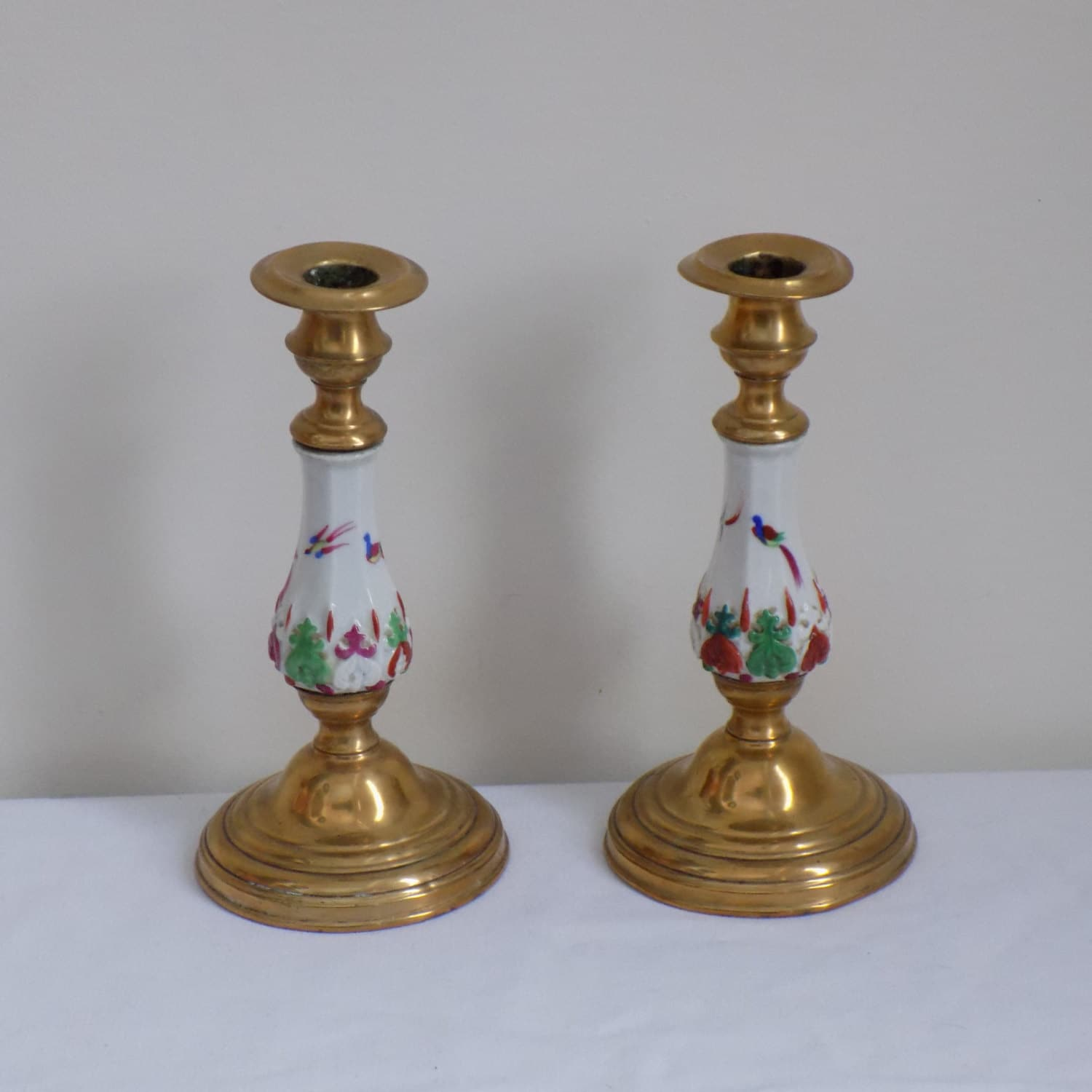 Antique Hand Painted Porcelain And Brass Candlestick Pair