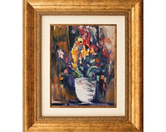 Framed Wall Art Vase of Flowers Oil Painting on Canvas  - Hand Painted & Ready to Hang