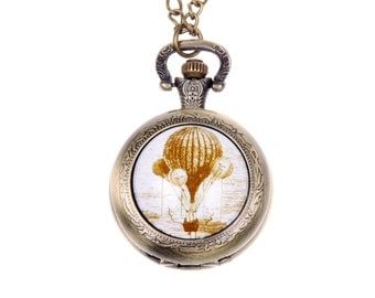 Necklace Pocket watch Hot Air Balloon vintage
