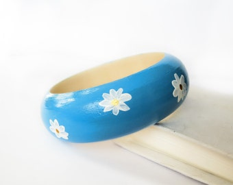 Blue Wooden Bangle with White Chamomiles Boho Hand Painted Bracelet Bohemian Wood Jewelry Stacking Hippie Eco-friendly