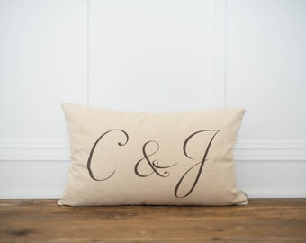 Custom Monogram Lumbar Pillow Cover