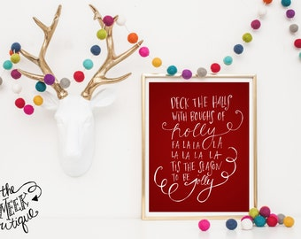INSTANT DOWNLOAD, Deck the Halls, Christmas Carol, Lyrics, Handwritten, No. 490