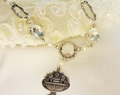 Assemblage Necklace, Shabby Chic, Rhinestone, Great Gatsby, Marie Antoinette, Victorian Bertha Louise Designs