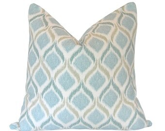 Custom Pillow Cover / Giorgio in Fresco Blue by Mill Creek Fabrics / Ikat / Both Sides / Made to Order