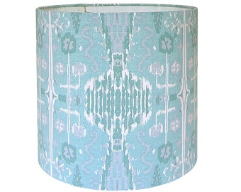 CustomLamp Shade - Ikat Lampshade - Fabric Lamp Shades - Bombay by Lacefield Designs in Mist Teal Turquoise Tribal Lampshade - Made to Order