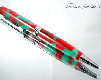 Handmade Pen - Ballpoint Pen Trimline Style in Red and Green Acrylic and Chrome plating, Handcrafted Pen, Pen Gift, Pen, Handturned Pen