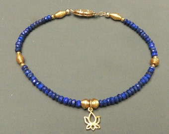 Lapis Lazuli Bracelet with 18K Vermeil Lotus Charm and 18K Hand Wrapped Beads