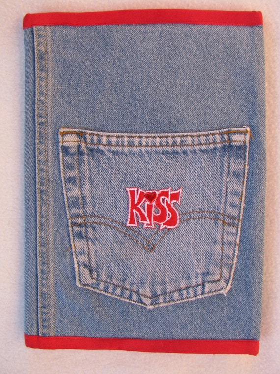 kiss recycled denim compostion notebook journal cover. Black Bedroom Furniture Sets. Home Design Ideas
